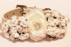 White Wedding Dog Collars with white flowers and Rhinestone, High Quality leather Dog Collar, Chic - LA Dog Store  - 1