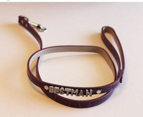 Purple Leather Leash, Best Man Wedding accessorry, High quality, Purple Dog leash with bling , Wedding dog collar