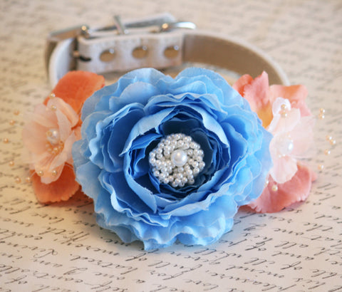 Blue Peonies and Peach wedding Floral Dog Collar, Pet Wedding, something Blue , Wedding dog collar