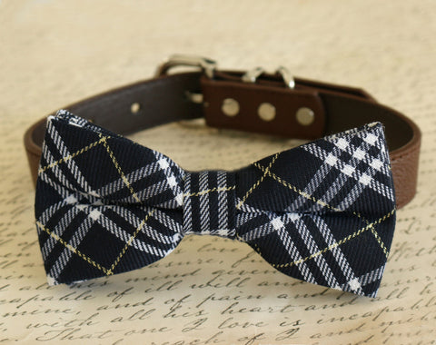 Navy Plaid Dog Bow Tie attached to collar, Dog gift, Pet accessory, Navy wedding , Wedding dog collar