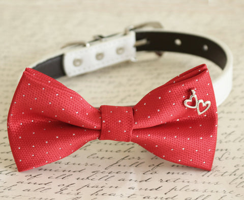Red Dog Bow tie attached to dog collar, heart charm, Dog gift, Pet wedding