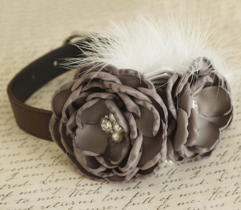 Gray Flower dog collar, Wedding dog collar, Dog birthday gift, Pet wedding accessory, flowers with Pearls and Rhinestone, Wedding dog collar