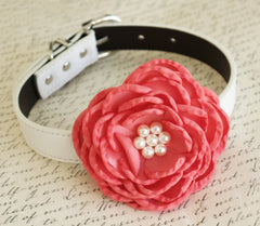 Coral Flower dog collar, Wedding dog collar, Dog birthday gift, Pet wedding accessory, flowers with Pearls, Wedding dog collar, Coral - LA Dog Store  - 1