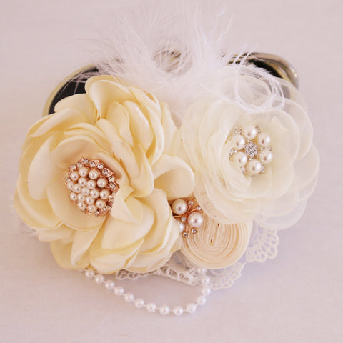 Ivory wedding dog collar flower beaded pearl collar, handmade, Dog of honor, proposal or every day use, M to XXL collar