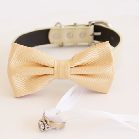 Ivory cream bow tie collar Leather collar dog of honor ring bearer bow tie adjustable handmade XS to XXL collar and bow, Proposal , Wedding dog collar