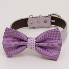 Lavender Dog Bow Tie Collar, bow attach to Gray, Brown, black, Ivory, Champagne, yellow, white or lilac leather dog collar, handmade