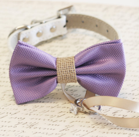 Lavender and burlap Dog Bow Tie, Dog ring bearer, Pet Wedding accessory