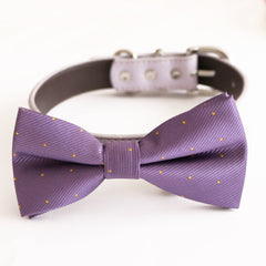 Lavender bow tie collar dog of honor dog ring bearer XS to XXL collar and bow tie, Puppy bow tie leather adjustable dog collar
