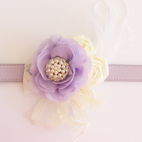 Lavender Flower dog collar, Handmade pearl beaded feather flower leather collar, Dog of honor proposal, S to XXL collar