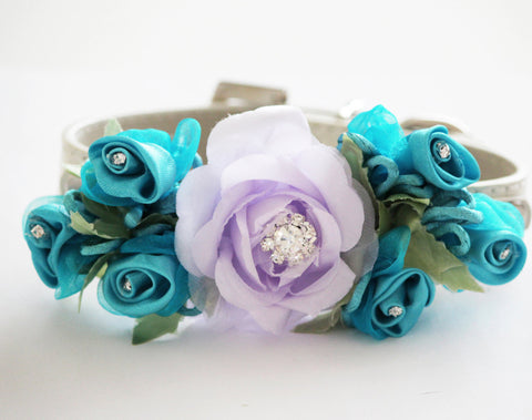 Lavender Blue Wedding Dog Collar, Wedding Dog Accessory, floral wedding , Wedding dog collar