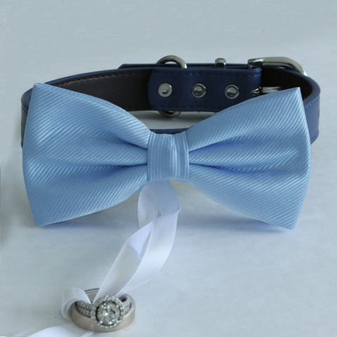 Blue bow tie collar Leather collar dog of honor ring bearer adjustable handmade XS to XXL collar and bow, Puppy bow collar, Proposal , Wedding dog collar