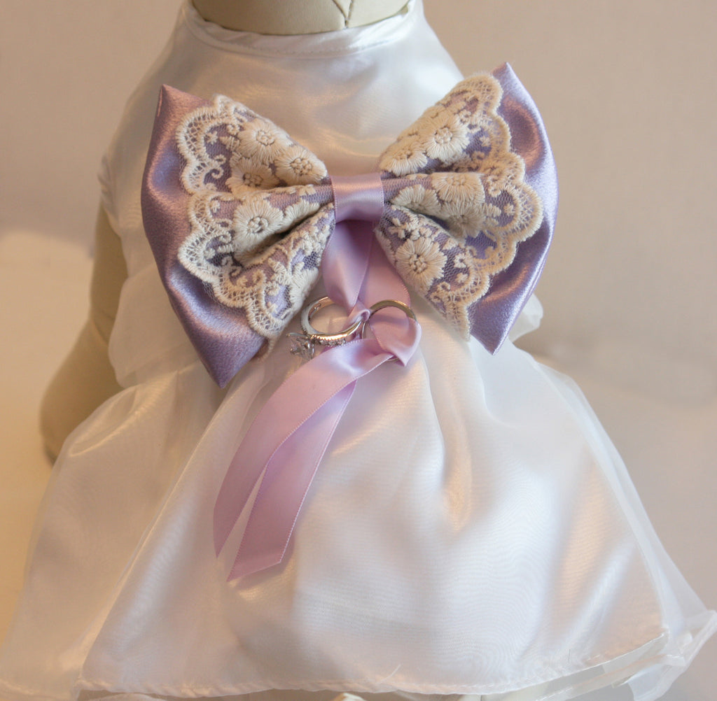 Lilac Dog Dress Dog Ring Bearer Lilac Pet Wedding Accessory Dog