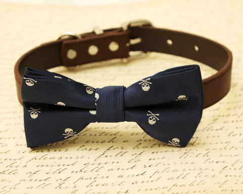 Navy Skull dog bow tie attached to collar, Halloween accessory, Navy bow tie
