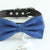 Navy bow tie collar Leather collar dog of honor ring bearer adjustable handmade XS to XXL collar and bow, Puppy bow collar, Proposal