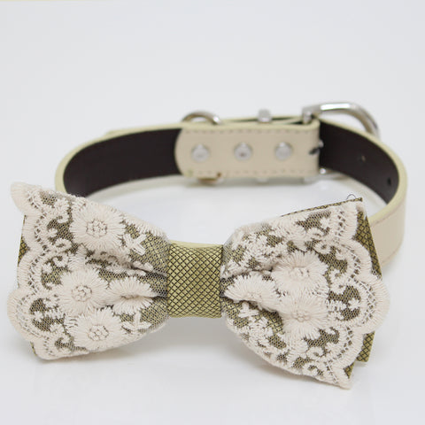 Olive green lace Bow tie collar, Bow attach to Ivory, brown, Copper, Champagne, Green, gray or white leather collar, handmade, girl collar