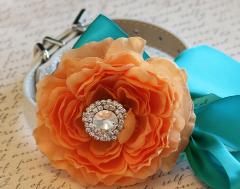 Pastel Orange Peony and Aqua Floral Dog Collar, Pet Wedding Accessory
