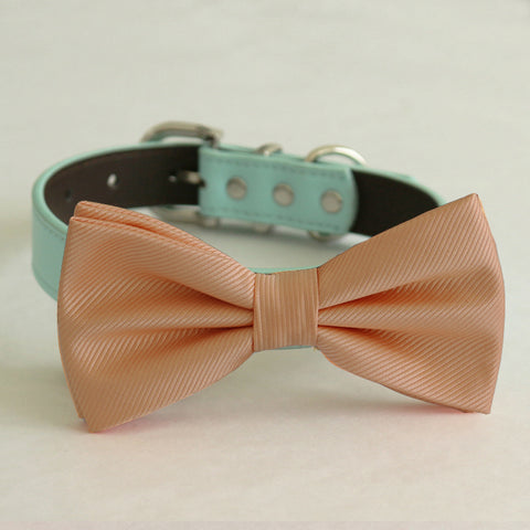 Peach bow tie collar Leather collar dog of honor ring bearer adjustable handmade XS to XXL collar and bow, Puppy bow collar, Proposal , Wedding dog collar