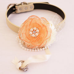 Peach Flower dog collar, Hand-painted flower beaded pearl, handmade flower collar, Dog of honor, proposal or every day use, S to XXL collar