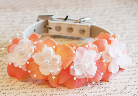 Peach Floral Dog Collar, Pet wedding accessory, Peach wedding idea, Pearl and Rhinestone, Wedding idea , Dog Lovers