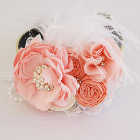 Peach wedding dog collar flower beaded pearl collar, handmade, Dog of honor, proposal or every day use, M to XXL collar
