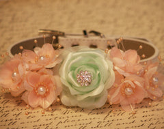 Peach and green wedding Dog Collars- Floral Wedding Accessories,Flower with Rhinestone and pearls, Pet wedding accessory, Vintage Wedding - LA Dog Store  - 1