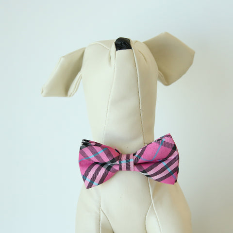 Carmine rose Check plaid  bow, Small bow tie collar, Puppy Collar, Cat collar, Cat bow tie collar , Wedding dog collar