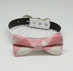 Plaid Pink wedding Dog Bow Tie collar, Pet wedding, Dog Lovers, Dog Birthday Gift