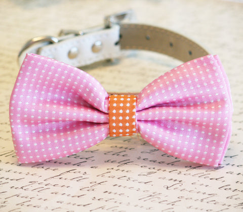 Pink Dog Bow Tie, Polka dots Pink and orange bow, Pink Lovers, Pet wedding , Wedding dog collar