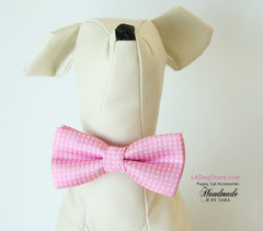 Pink dog bow tie attached to collar, Puppy, Cat birthday gift, Small Collar