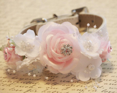 Pink White Floral Dog Collar, Pink White Wedding dog accessory