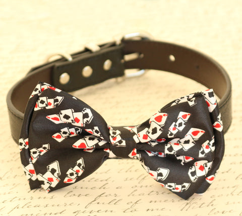 Red Hearts Diamonds dog bow tie Alice In Wonderland collar, Red and Black