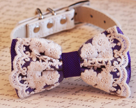 Purple lace Dog Bow Tie, Vintage Wedding, Purple Wedding, boho wedding collar
