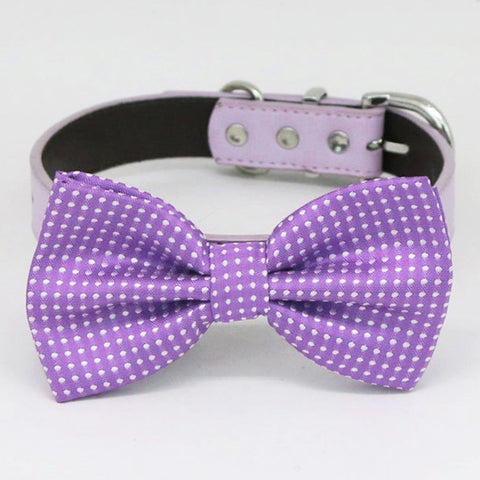 Purple bow tie collar handmade XS to XXL collar and bow adjustable Puppy bow tie dog of honor ring bearer Blue navy black brown collar