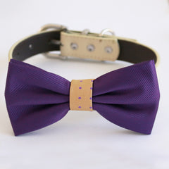 Purple Cream bow tie collar dog of honor dog ring bearer XS to XXL collar and bow tie, Puppy bow tie leather adjustable dog collar