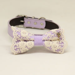 Lilac bow tie dog collar, Lilac leather dog collar, Lace bow tie, heart Key charm