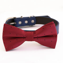 Red bow tie collar dog of honor dog ring bearer XS to XXL collar and bow tie, Puppy bow tie leather adjustable dog collar