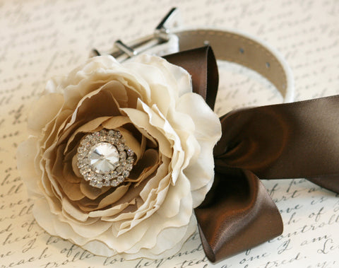 Country Peonies rustic wedding, Pet Wedding Accessory, Neutral color, Wedding Color, Brown