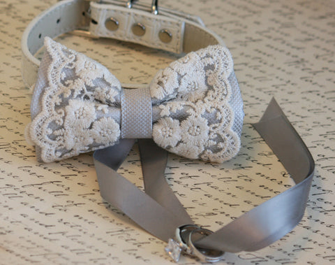 Silver Bow Tie Dog ring bearer, Boho Wedding ideas dog collar