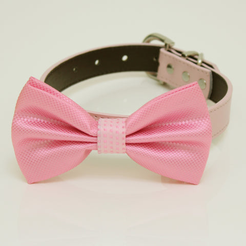 Pink Dog Bow Tie Collar, Pink bow attach to Pink, Gray, Brown, black, Ivory, Champagne, yellow, white, hot pink or lilac leather, handmade