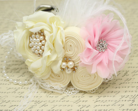 Soft pink Ivory Flower dog collar, Pearl, beaded, feather flower attached to Ivory, Champagne, pink, White, lilac or copper leather collar