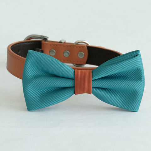 Teal blue bow tie collar XS to XXL collar and bow tie, adjustable, Puppy bow tie, handmade, dog of honor ring bearer, Teal blue Cinnamon