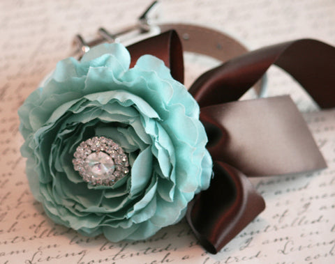 Peony Floral Tiffany blue and Brown Pet Wedding dog collar, Beach wedding, Dog Lovers