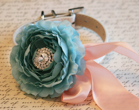 Tiffany blue and Blush floral dog collar, wedding Accessory, Beach wedding idea, floral wedding dog collar, Peony flower