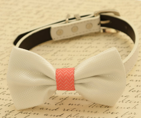 White dog Bow tie attached to collar, Coral and white wedding, Dog birthday , Wedding dog collar