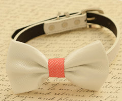 White dog bow tie, Bow tie attached to dog collar, Pet accessory, Coral and white wedding accessory, Dog birthday gift, dog collar - LA Dog Store  - 1