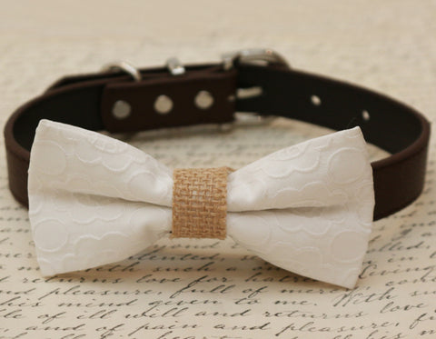 White Dog Bow Tie attached to collar, Pet wedding, Dog birthday, dog lovers , Wedding dog collar