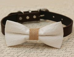 White Dog Bow Tie, White Bow attached to brown dog collar, Pet wedding accessory, Dog birthday gift, White floral bow tie, dog lovers - LA Dog Store  - 1