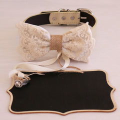 White lace bow tie collar and Small Chalkboards Signs, Proposal, Bridal Sign, Dog Ring Bearer, Marry me, XS to XXL collar