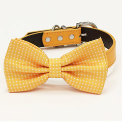 Sunny Yellow dog Bow tie collar, Yellow Leather dog collar, White, Black, Brown, Navy, Ivory, Copper, Green leather collar, puppy dog collar