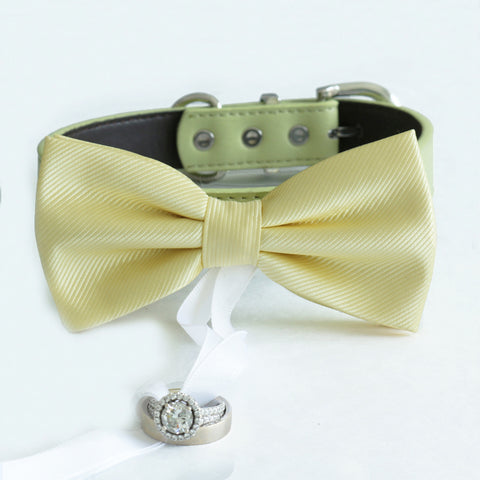 Pale yellow bow tie collar Leather collar dog of honor ring bearer adjustable handmade XS to XXL collar bow Puppy proposal blue navy collar , Wedding dog collar